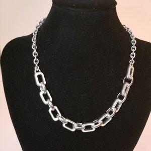 Lia Sophia Cream/Navy Silver Chain Necklace